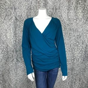 Garnett Hill Juliet Blue Faux Wrap Blouse Large